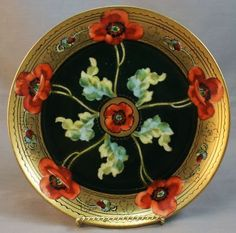 -- 'Poppy' Salad Plate -- Circa 1903 -- by Limoges -- Via Sandra Espinet Antique Plates, Antique China, Vintage China, Decorative Plates, Limoges China, Fine Porcelain, Painted Porcelain, China Plates, China Painting
