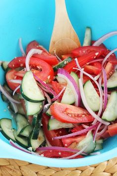 Easy Tomato, Cucumber and Red Onion Salad with feta and garlic