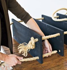 Rope and wood hanging shelves tutorial. Simple and classic!
