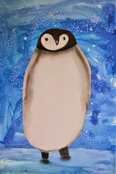 MaryMaking: March of the Penguins kindergarten 1st grade art lesson project winter penguin watercolor salt tempera charcoal sharpie animals 2-d painting drawing shading