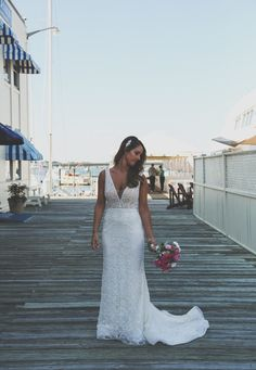 Lararo Gown with train at Alexandra and Todd's Regatta Place Wedding