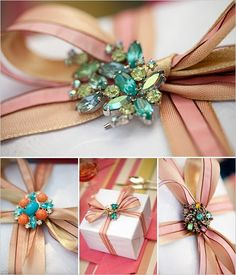 Loooooooooveee!!!! give me a gift wrapped like this any day!Use a brooch for extra sparkle