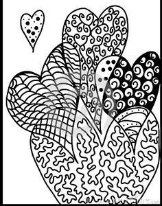 Hand draw and artistic zentangle hearts ,background illustration,vector, abstract picture