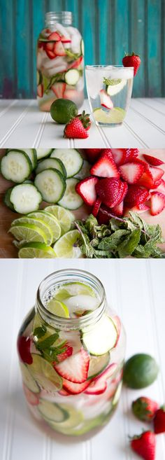 Limes The perfect combination of flavors! Strawberry, Cucumber, Lime and Mint Flavored Water Recipe Easy DIY Detox Water Recipe by DIY Ready at http:diy-recipes-detox-waters Yummy Drinks, Healthy Drinks, Healthy Snacks, Healthy Recipes, Diy Snacks, Healthy Detox, Healthy Life, Healthy Living, Easy Detox
