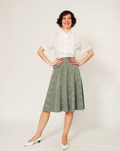 Vintage 50s Blouse - 50s White Blouse - Tiny Ascot