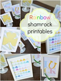 These rainbow shamrock printables are so cute