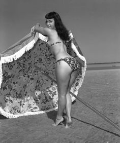 Bettie Page on the beach.