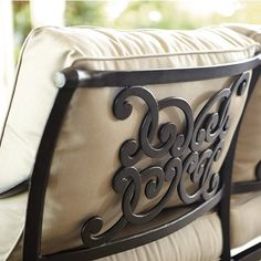 Cast Aluminum Chaise features:Extremely strong, Light enough for easy placement, Reassuringly sturdy, Basic Tan cushions Dining Arm Chair, Lounge Chairs, Armless Chair, Armchair, Replacement Chair Cushions, Outdoor Furniture Covers, Wrought Iron Patio Chairs, Ballard Designs, Outdoor Lounge