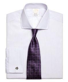 Men's Golden Fleece Slim Fit French Cuff Dotted Stripe Dress Shirt