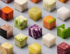 Dutch artists Lernert and Sander cut raw food into 98 perfect 2.5 x 2.5 x 2.5 cm cubes.   Commissioned by Dutch newspaper de Volkskrant.