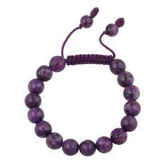 #8: 10mm Round Genuine Stone Bead Adjustable Shamballa Bracelet