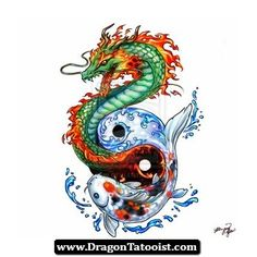 Pez Koi Y Dragon Tattoo 10 - http://dragontattooist.com/pez-koi-y-dragon-tattoo-10/
