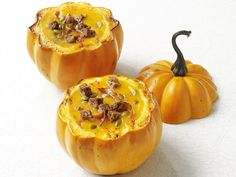 Squash Soup in Pumpkin Bowls   This soup is so good!  The pumpkin bowl is just for fun and I usually skip that part.  I always use the heavy cream but skip the other toppings.  It's delicious all by itself.