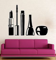 Beauty Salon Wall Stickers Cosmetics Makeup Girl Woman Vinyl Decal (ig2423)