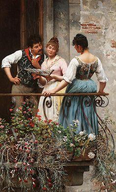"Eugene de Blaas--""On the Balcony"""