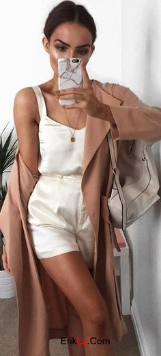 #summerstyle #style #summer #popular #outfits | Camel Trench Satin Two Piece Set