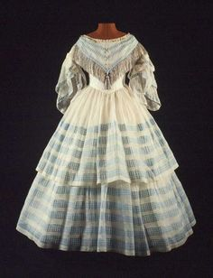 Circa 1850-1860 blue and white dress