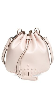 5f18a34a21454 Tod s  Mini Briglia  Drawstring Leather Bucket Bag Rosa Handtaschen