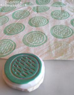 Cute handmade stamp on fabric