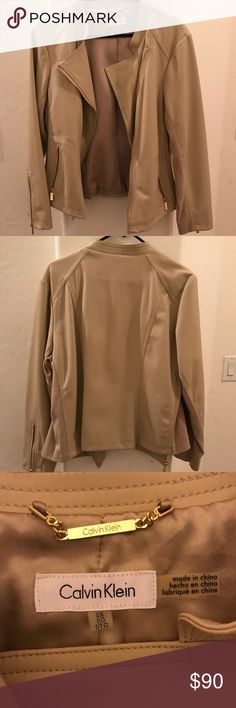 Calvin Klein jacket NWOT!! Basically new. Got it for my birthday but does not not me, too big (don't know what my mom was trying to tell me🤔😂). Ribbed sides and under arms. Gold hardware. Silky inside lining. There is a little pin hole from the security tag; it's on the left inside towards the bottom. Calvin Klein Jackets & Coats