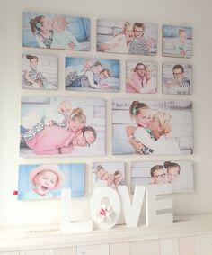 """Dit is nog eens wat we noemen een """"Feel-Good-Ogu""""! Een professionele fotoshoot, een happy family, geen gaten en schroeven in de muur, alle vlakken precies recht en exact 4 cm uit elkaar! Binnen 2 minuten hing hij! #familieshoot #fotocollage   Foto's gemaakt door Fotostudio Juf Lies"""
