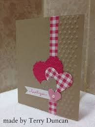 No instructions but a nice card. kraft base with reid and white . gingham ribbon/wasshi line die cut montage of hears . Valentine Love Cards, Valentine Sday, Handmade Valentines Cards, Homemade Valentine Cards, Paper Cards, Creative Cards, Anniversary Cards, Greeting Cards Handmade, Scrapbook Cards