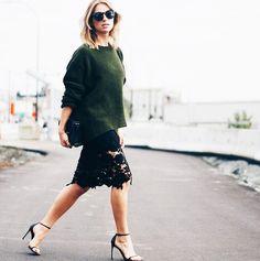 kaki knit and black lace skirt