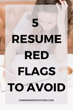 5 red flags that you want to avoid when sending your resume or applying for a job online in your resume. Your resume needs to be ATS friendly and easily scannable by a recruiter to get past the… Resume Advice, Resume Writing Tips, Resume Help, Resume Skills, Job Resume, Resume Ideas, Career Advice, Career Success, College Success