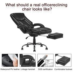YAMASORO Reclining Office Chair High Back ,Ergonomic Design Computer Napping Chair Leather with Footrest Thick Padding for Lumbar Support Reclining Office Chair, Gaming Chair, Foot Rest, Recliner, Bookshelves, Pu Leather, Desks, Furniture, Chairs
