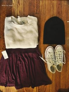 Black beanie, white converse, maroon skirt, and a white wool sweater