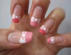 pink and white bow tips - nail art