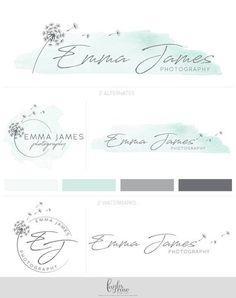 Premade Logo, Photography Logo, Custom Logo Design, Logo Design, Dandelion Logo, Watercolor Logo, Logo Design, Mint Logo, Graphic Design - #Custom #Dandelion #Design #Graphic #logo #Mint #Photography #Premade #Watercolor