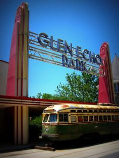 Glen Echo Park (now). PCC street car was a gift from Philadelphia Pennsylvania and will be repainted in the DC Transit scheme.