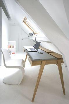Plywood Furniture, Table Furniture, Kids Furniture, Furniture Design, Bureau Design, Attic Office Space, Architecture Desk, Attic Living Rooms, Workspace Desk