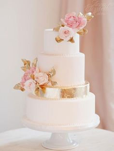 30 Stunning Metallic Wedding Cakes   see them all on www.onefabday.com