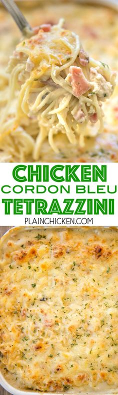 Chicken Cordon Bleu Tetrazzini - we are obsessed with this yummy casserole!! Chicken, ham, swiss cheese, mushroom soup, Alfredo sauce, chicken broth, pasta and parmesan. So quick and easy to make. Can make ahead of time and freeze for later. We make this