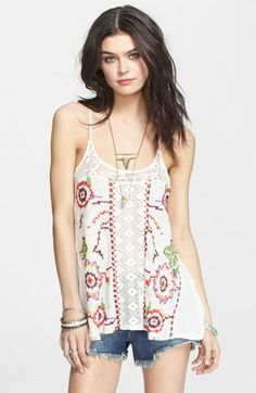 Free People 'Reese' Embroidered Racerback Tank | Nordstrom