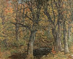 """New England Wood and Stream, Fall,"" John Joseph Enneking, oil on canvas, 32 x 40"", private collection."