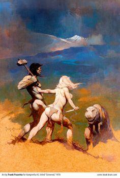 Frank Frazetta painting titled Cornered - cover of Vampirella number 5