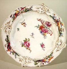 Chelsea Porcelain Plate: Gold Anchor Period, circa 1758, Rococo shaped border / http://www.vandekar.com/archives/details.asp?inventoryNumber=NY00594#