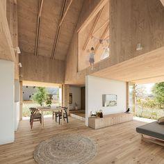 四隅にプライバシーを必要とされる箱を造り、そこに大きな屋根をかけ内部空間を穏やかに包み込み、中心を吹き抜けとすることで、開放性と独立性を明確にしました。