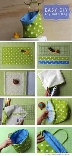 Make a fabric bath toy bag. This bag is perfect for holding your kids and babies bath toys! Easy toy bag tutorial using PUL as the lining. Sewing Hacks, Sewing Tutorials, Sewing Crafts, Sewing Patterns, Diy Crafts, Diy Toy Storage, Hanging Storage, Diy Hanging, Storage Ideas