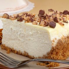 This Skor cheesecake recipe has a baked graham crust, but the cheesecake filling is a no-bake recipe that is cool and creamy smooth and garnished with skor bits.