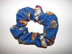 Cats Felines On Dark Blue Fabric Hair Scrunchie a by coloradocntry