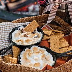 You can easily prepare and package these Skillet S'mores beforehand to take to a outdoor campout (or even to give as party favors or gifts if you're having company over). Pick up some mini skillets and cellophane bags at a kitchen supply store to create one-of-a-kind treats!