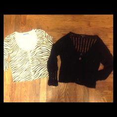 Bundle of 2 Cardigans M Black crochet size M by Carolyn Taylor EUC no holes or stains. Zebra print cardigan by Delia's size M adorable hipster vintage like buttons down the front. Please msg with any offers, trades or questions, thank you!!! delia's Sweaters
