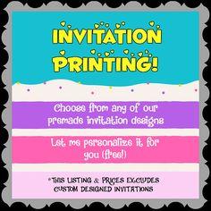 INVITATION PRINTING Printing Service Custom Printing Personalized Invitations, Digital Invitations, Custom Printing, Printable Party, Printing Services, Invitation Design, Custom Design, Prints, Decor