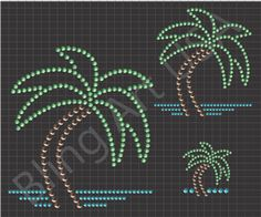 Rhinestone Palm Trees Downloads Patterns Bling Tropical Art Oasis Coconut Stone Vacation Beach Sandy Relaxing System Easy Sticky Flock