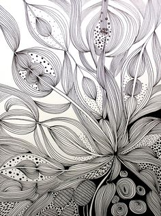ARTFINDER: Enthral by Helen Wells - An intricate, intuitive and unique hand drawn pen and ink drawing on Fabriano art paper. It depicts a visually rich, illusionary organic landscape which cele. Painting & Drawing, Doodle Drawing, Zentangle Drawings, Doodles Zentangles, Doodle Art, Art Drawings, Doodle Patterns, Zentangle Patterns, Tangle Art