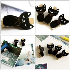 Wooden Mini Cat Clothes Pins. http://dspot1.com/collections/wooden-clip/products/black-cat-wooden-clips-wooden-clamps-mini-clips